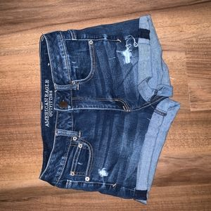 American Eagle dark wash, high waisted shorts